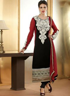 Charming Black Diamond And Pearl Work Designer Suit  Charming black designer suit featuring finest diamond work and Pearl work with georgette fabric.This salwar kameez comes with matching santton crepe bottom and matching chiffon dupatta.  Rs. 4,160/-