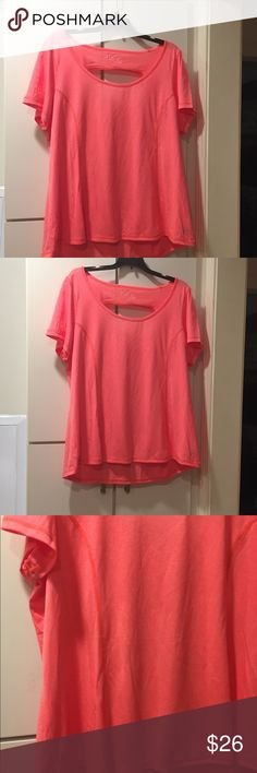 Light coral active top Lovely light coral color cap sleeve. Body has subtle farting for body contouring. Delicate stripes. High low hemline. Open back. Performance moisture wicking fabric. Be Inspired Tops Tees - Short Sleeve