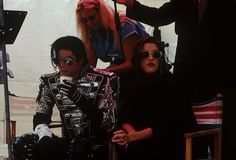 Michael Jackson and Lisa Marie Presley in Budapest, at the set for the ' History' video.