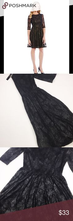 Alex Marie black dress with lace overlay Stunning lace overlay dress. Black and silver dress. Catch the light and watch the light dance beautifully over this dress. 3/4 sleeve. Zip up back. Excellent party dress Alex Marie Dresses