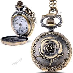 Rose Design Quartz Pocket Watch Portable Watch Timepiece with Chain for Female Male WTH-197310