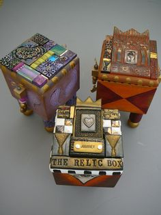 Boxes, by Laurie Mika... polymer clay, mosaic, mixed media artist, extraordinare.