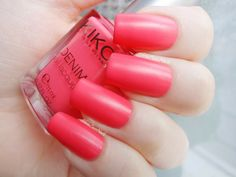 KIKO Boulevard Rock Denim Nail Lacquer Collection swatches: 460 Ink Pink
