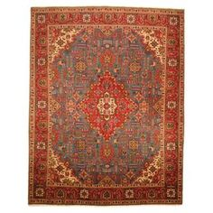 @Overstock.com - Antique 1960's Persian Hand-knotted Tabriz Turquoise/ Red Wool Rug (10' x 13') - With a distinctive style, a gorgeous area rug from Iran will add some splendor to any decor. This Tabriz area rug is hand-knotted with a floral pattern in shades of turquoise, red, ivory, peach, green, brown and gold.  http://www.overstock.com/Worldstock-Fair-Trade/Antique-1960s-Persian-Hand-knotted-Tabriz-Turquoise-Red-Wool-Rug-10-x-13/8372350/product.html?CID=214117 $2,124.99