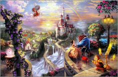 Beauty and the Beast art by Thomas Kinkade #disney