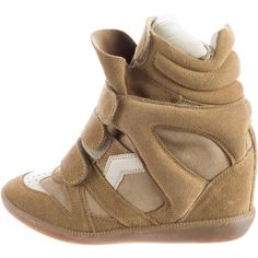 Pre-owned Isabel Marant Beckett Suede Sneakers ($245) ❤ liked on Polyvore featuring shoes, sneakers, brown, suede shoes, velcro high tops, velcro shoes, brown sneakers and brown shoes