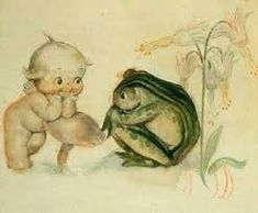 This quant little image is typical of may images by Rose O'Neill. Kewpie seems to be having an engrossing conversation with Frog. Vintage Greeting Cards, Vintage Ephemera, Vintage Postcards, Vintage Images, Vintage Oddities, Vintage Scrapbook, Vintage Pictures, Paper Dolls, Art Dolls