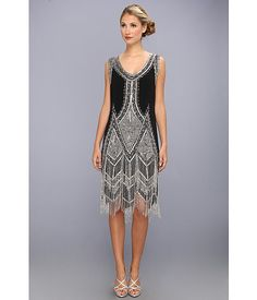 Unique Vintage Beaded and Embroidered Reproduction Flapper Dress Black/Silver - Zappos.com Free Shipping BOTH Ways