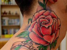 Our neck tattoos for men gallery provides you with countless of options as far as neck tattoo ideas, placement, and neck tattoo designs. Ruby Rose Tattoo, Rose Neck Tattoo, Flower Tattoo On Side, Neck Tattoo For Guys, Flower Tattoo Shoulder, Tattoos For Guys, Tattoos For Women, Simple Neck Tattoos, Best Neck Tattoos
