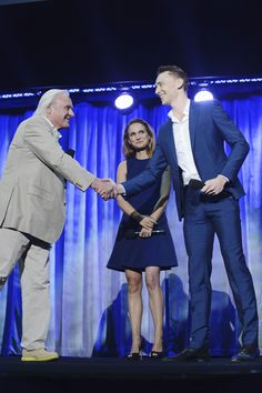 Tom Hiddleston on stage at the D23 Expo (w/ Anthony Hopkins and Natalie Portman) on August 10th, 2013.