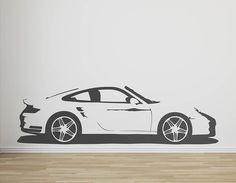 A perfect replica vinyl wall sticker of a Porsche 911 Turbo supercar.