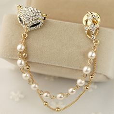 Fox pearl chain brooch female put needle accessories jewelry day gift a310 on AliExpress.com. $14.11