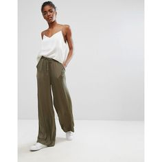 b.Young Loose Leg Trousers (395 ZAR) ❤ liked on Polyvore featuring pants, green, green trousers, tall pants, loose fit trousers, green wide leg trousers and tall wide leg trousers