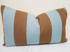 """Blue Brown Striped Outdoor Pillow Cover - Altizer /Sunblock Cabana Stripe Outdoor Fabric in Robins Egg Blue - 14 x 24"""" by ZourraDesigns on Etsy https://www.etsy.com/listing/158651160/blue-brown-striped-outdoor-pillow-cover"""
