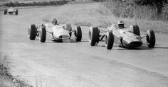 Mike Spence, Ron Harris F2 Lotus 35 Cosworth, leads Graham Hill, Lotus 35, into Esso Bend, Oulton Park Gold Cup, 1965