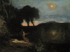 """animus-inviolabilis: """"A Subject from the Runic Superstitions Joseph Mallord William Turner 1808 """" Joseph Mallord William Turner, Covent Garden, Nocturne, Turner Painting, Moonlight Painting, Art Uk, Ciel, Dark Art, Les Oeuvres"""