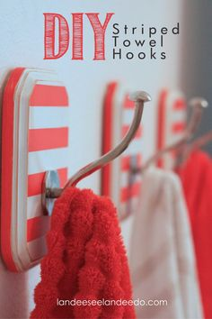 DIY Striped Towel Hooks For the Girls Bathroom. Make 4 or 5 for robes, towels, etc. For Mol? Bathroom Kids, Kids Bath, Bathrooms, Bathroom Hooks, Hall Bathroom, Bathroom Interior, Modern Bathroom, Diy Projects To Try, Home Projects