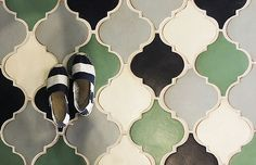 HGTV's Genevieve Gorder's favorite home decor and interior design picks for 2016 - on the Dog Lady Design Files blog! One of her favorites? Decorative tile! This beautiful mermaid-colored tile is by Tabarka. New tiles made to look old.  Interior Design, Home Decorating and Dog Musings from Jersey City www.dogladydesignfiles.com