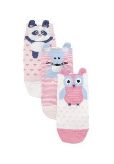 F&F 3 Pair Pack of Animal Socks
