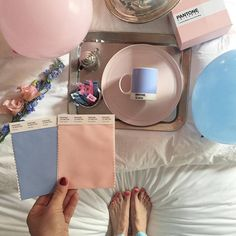 """Get ready for a colorful 2016 with @Pantone #ColorOfTheYear! Not one but two colors... Introducing #rosequartz & #serenity. Photo via @psimadethis"""