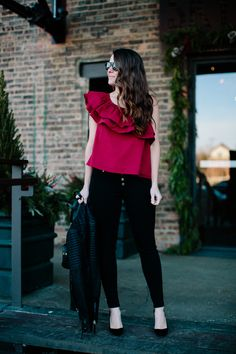 red one shoulder ruffle top