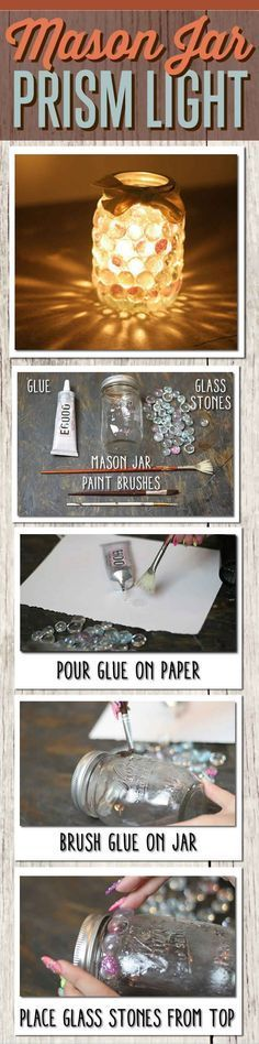 Easy mason jar crafts idea for DIY mason jar lights. Dollar store idea uses glass stones to make a cool, creative DIY project - the mason jar prism light. Mason Jar Projects, Mason Jar Crafts, Cute Crafts, Crafts To Do, Teen Crafts, Easy Crafts, Dollar Store Crafts, Dollar Stores, Mason Jars