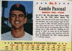 Post Baseball Cards Prices | 1963 post 9 camilo pascual 1963 post 10 jim kaat