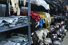 Rows and rows and rows and rows...of LEATHER! Find almost any kind of leather you want here at The Leather Guy! www.theleatherguy.org