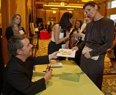 """We're thrilled that actress Bridget Moynahan is a fan of Peter H. Reynolds work!  Here she is getting ROSE'S GARDEN """"fable for all ages"""" storybook - after Peter keynoted Jumpstart Boston gala!"""