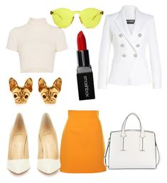 """""""#79 Whait& Yelow Outfit"""" by daniela-paulica on Polyvore featuring Staud, MSGM, RumbaTime, French Connection, Christian Louboutin, Balmain and Smashbox"""
