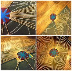 sunburst mirror DIY. Tutorial on making your own sunburst mirror from dowels. inexpensive decorative mirror. Popular with the Poplins