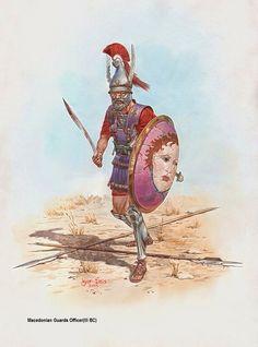 Macedonian Guards Officer, ca 300 B. - by Igor Dzis Greek History, Roman History, Ancient History, Greek Warrior, Fantasy Warrior, Ancient Armor, Hellenistic Period, Alexander The Great, Historical Art