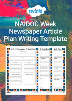 Use this template with your middle or upper primary students to plan the layout of their newspaper article about NAIDOC Week. Newspaper Names, Newspaper Article, Introduction Paragraph, Naidoc Week, Writing Template, Students, Middle, Layout
