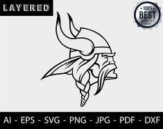 Football Nail Art, Football Team, Los Angeles Dodgers Logo, School Spirit Wear, Viking Logo, Minnesota Vikings Football, Viking Helmet, Black Silhouette, Silhouette Studio