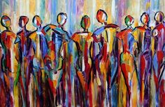 Gathering... The Good People are Gathering. Figurative Palette Knife Painting by Texas Artist Laurie Pace -- Laurie Justus Pace