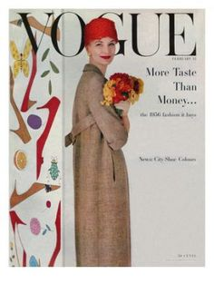 Vogue Cover - February 15 1956 Poster Print by Karen Radkai at the Condé Nast Collection Vogue Magazine Covers, Fashion Magazine Cover, Fashion Cover, Vogue Vintage, Vintage Vogue Covers, Vintage Ladies, Magazine Mode, Magazine Stand, Vintage Fashion Photography