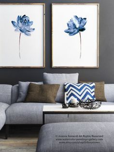 Lotus lot de 2 peinture aquarelle, eau bleue fleurs affiche abstrait fleur Art Print, Illustration florale moderne Wall Decor,
