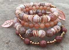 14k Rose Gold Pink Argentina Rhodochrosite Goldstone memory wire bracelet / boho chic jewelry / bracelet stack / accessories / gemstone bracelet / by YellowMangoBracelets