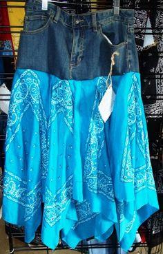 Blue Jean Bandana Skirt
