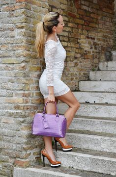 White #lace dress for today's #outfit!