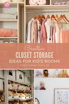 We've compiled a list of several ways you can adapt your child's closet to be more efficient. All of these projects will not only increase the ease to which you can find your kid's clothing, but they will also multiply the amount of space you have to store toys and other items.  #home #kids #closet #decor #home #homedecor Kids Storage, Closet Storage, Storage Spaces, Storage Ideas, Kid Closet, Closet Bedroom, Closet Ideas, Guest Bathrooms, Bathroom Kids
