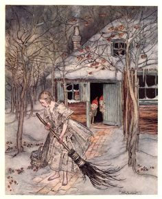 """What did she find there but real ripe strawberries."" Illustration by Arthur Rackham from Grimm's Fairy Tales, The Three Little Men in the Wood. Arthur Rackham, Art And Illustration, Book Illustrations, Brothers Grimm Fairy Tales, Grimm Tales, Gebroeders Grimm, Illustrator, Charles Perrault, Edmund Dulac"