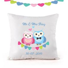 owl cushion by cjcprint on Etsy Wedding Anniversary Gifts, Wedding Gifts, Owl Cushion, Mr And Mrs Smith, Save The Date Magnets, Goods And Services, Personalized Wedding, Wedding Engagement, Etsy Seller