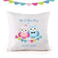 Personalised wedding cushion, Anniversary cushion, wedding gift. owl cushion by cjcprint on Etsy