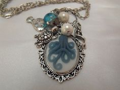 Steampunk Octopus Necklace with pearls Antiqued by AGothShop, $15.00