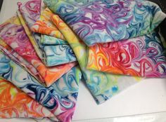 Swirl dyed bamboo velour - dyed using shaving foam and procion mx dyes