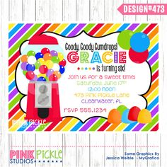 RAINBOW CANDY Birthday Party INVITATION or Thank You Card Personalized Printables (473). $10.00, via Etsy.