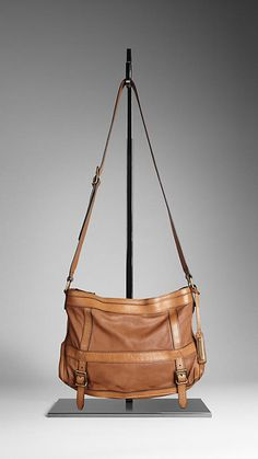 Burberry - LARGE WASHED LEATHER CROSSBODY BAG
