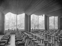 ALVAR AALTO, The Lecture Hall in the Viipuri Library (Finland), 1935. The undulating wooden ceiling made of narrow pine stripes. Photograph by Gustaf Welin. / Alvar Aalto Museum