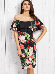 SheIn offers Rose Print Flounce Layered Neckline Fitted Dress & more to fit your fashionable needs. Casual Day Dresses, Tight Dresses, Cute Dresses, Short Sleeve Dresses, Fashion Sale, Party Fashion, Fashion Outfits, Fall Fashion, Fashion Trends